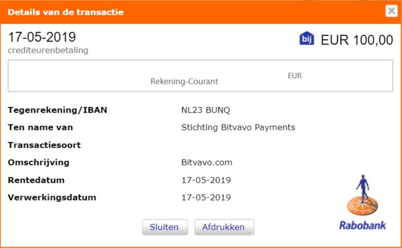 Bitvavo uitbetaling naar rekening